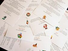 Personalised Festive Christmas Table Menu Cards for Wedding, Office, Party Etc