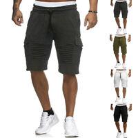 Men's Cargo Shorts Jogger Cotton Summer Gym Running Sweat Short Pants Bottoms
