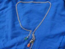 Retro Vintage Silver Tone Chain Link Belt Bejeweled Unsigned Size medium