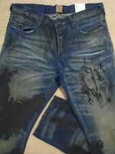 PRPS BARRACUDA Straight Smeared Paint Dark Blue Mens Jeans 34 Orig $300+ SALE!