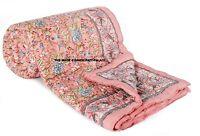 Indian Block Print Reversible Quilt Pink Floral Rajai Soft Cotton Throw Blanket