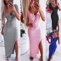 Women Sexy V-Neck Slim Maxi Dress Bodycon Elegant Side Slit Evening Party Dress