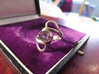Extravaganter 925 Silber Ring Space Age 70er 80er Vintage Amethyst Blass Elegant