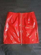 CRAZY OUTFITS Lack Rock Lackrock PVC Wetlook Leder Look Vinyl Rot Zip Glanz 36
