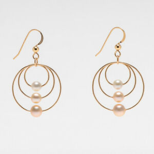 Gradient design!Samll Pearl Dangle Earrings 14K Yellow Gold Filled,1.5 inches
