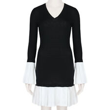 Alexander McQueen Austere Black White Pleated Cuff & Hem Sweater Dress IT40 UK8