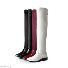 Women's Cuban Heel Shoes Synthetic Leather Fashion Over Knee Boots UK Size O498