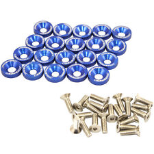 BLUE 20 PC JDM BILLET ALUMINUM FENDER/BUMPER WASHER/BOLT ENGINE BAY DRESS UP KIT