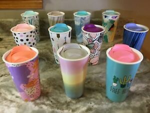 Double Wall Ceramic Travel Mug Eco One Different Abstract Designs And Colors New