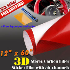 "12""x 60"" 3D Red Carbon Fiber Sticker Decal Car Vinyl Wrap Air Release Color Film"