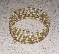 Butter Cream White Beaded Wrap / Coil Bracelet - USA Made - Gold Glass Bead Mix