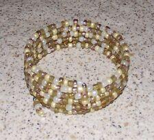 Boho Buttercream Beaded Wrap / Coil Bracelet - USA Made - Gold Glass Bead Mix