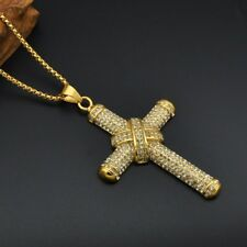 Mens Large Ice Cross Pendant & 60cm Necklace Gold Color Bling