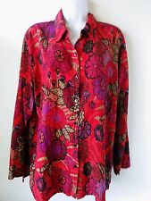 CHICOS SILK Blend Bright Red Artistic Print SZ 2 TOP Button Front SZ 12/14