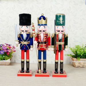 38cm Wooden Nutcracker King Soldier Puppets Doll Christmas Ornaments Decor Gifts