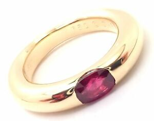 Authentic! Cartier 18k Yellow Gold Ruby Ellipse Band Ring Size 50 US 5 1/4