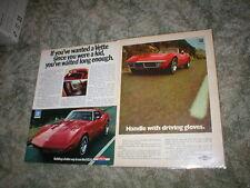1970 1973 Chevrolet Corvette Stingray Car ads ( Lot of 2 ) Coupe