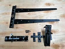"""Wooden Gate SUFFOLK Fitting Kit Garden Gate Set 450mm + 18"""" Pair Tee Hinge"""