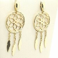 Boucles D'Oreilles Pendantes or Jaune 750 18K, Dreamcatcher, Plume, Italie Made