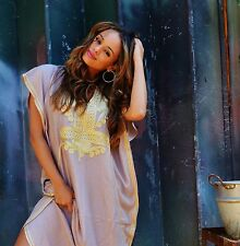 NEW BEACH KAFTAN FASHION DRESS COVER UP BEIGE GOLD RESORT WEAR ABAYA CAFTAN