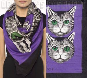 "GUCCI purple & black MYSTIC CATS modal/silk 54""-square shawl scarf NWT Auth $445"