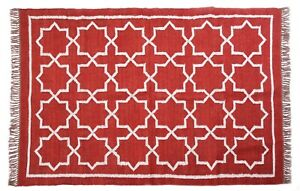 Indian Handwoven Large Area Golden Zari Work Jute Rug Carpet Red Throw Rug