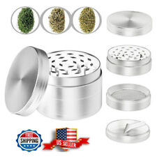 Herb Spice Grinder 4Piece Herbal Alloy Smoke Metal Chromium Crusher Silver Color