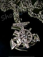 Men's Women 14k WHITE Finish Anchor Pendant Rope Chain Every Day wear