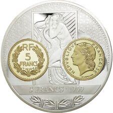 [#554414] France, Médaille, Histoire de la Monnaie Française, 5 Francs 1939