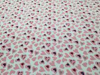 (RR276) Crepe de Chine Fabric - Pink Love Hearts - CDC Dress Fabric
