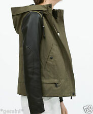 Zara size L 40 parka Jacket FAUX LEATHER sleeves Hood veste Cuir Manches Capuchon
