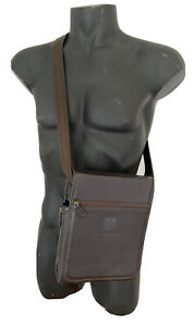 ROCKY MOUNTAINEER BROWN LEATHER TRAVEL CADDY/PERSONAL TABLET/E-READER CROSSBODY