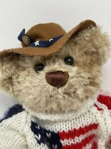 """Brass Button Bear Legendary Collection """"Clay"""" Cowboy Hat American Flag Sweater"""