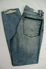 HUDSON zoeey ripped jeans deep cuff distressed straight crop blue SIZE 25