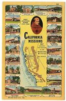 California Multi-View Postcard Image Of Spanish Missions & Locations Map #75612