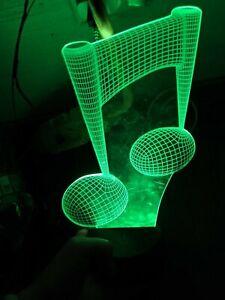 3D Music Note Night Light 7 Color Change LED Desk Lamp Touch Room Decor Gift