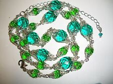 Vintage Lampwork faceted Czech Teal & Emerald uranium green glass bead necklace