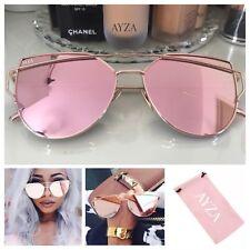 AYZA So Hot Real Cateye Sonnenbrille Damen Rosegold Verspiegelt Brillentasche