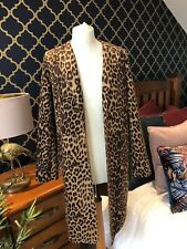 ZARA Faux Suede Leopard Print Brown Frock Coat Jacket MEDIUM BNWT Trinny