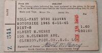 1946-1947 Motorcycle Registration Card Clemson South Carolina