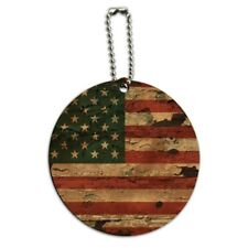 Rustic American USA Flag Distressed Round Wood Luggage Card Carry-On ID Tag