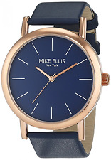 Mike Ellis New York Women's Quartz Watch with Blue Dial Analogue Display and Lea