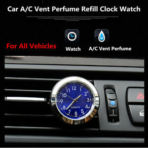 Auto Quartz Watch Styling Car Clock A/C Air Outlet Perfumes Refill Air Freshener