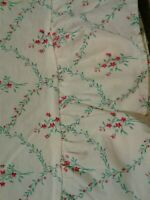 rare RALPH Lauren - beautiful cream ruffled end, floral FLAT SHEET, twin