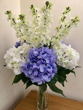 EXTRA LARGE ARTIFICIAL FLOWERS  ARRANGEMENT HYDRANGEA & STOCKS IN FAUX WATER