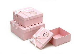 Set of 3 Baby Pink Square-Shape Flower Boxes Bouquet Flower Box Paper 3 Size