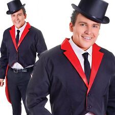 Fancy Dress Costume Circus Ringmaster Tailcoat New Adults Male Victorian Black