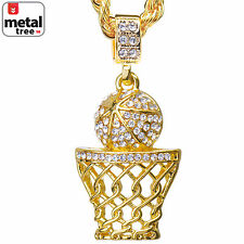 "Men's CZ 14k Gold Plated Basketball Hoop Pendant 24"" Chain Necklace HC 1109 G"