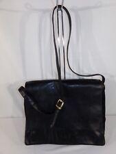 PERLINA Black Leather Shoulder Strap Flap Messenger Laptop Computer Bag 16 X 12