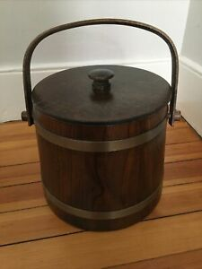 Vintage Putney Vermont Basketville Wooden Firkin Ice Bucket with Liner & Lid